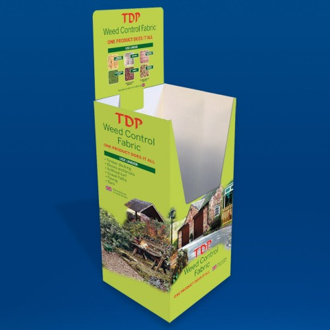 Retail dump bin for TDP weed control fabric rolls