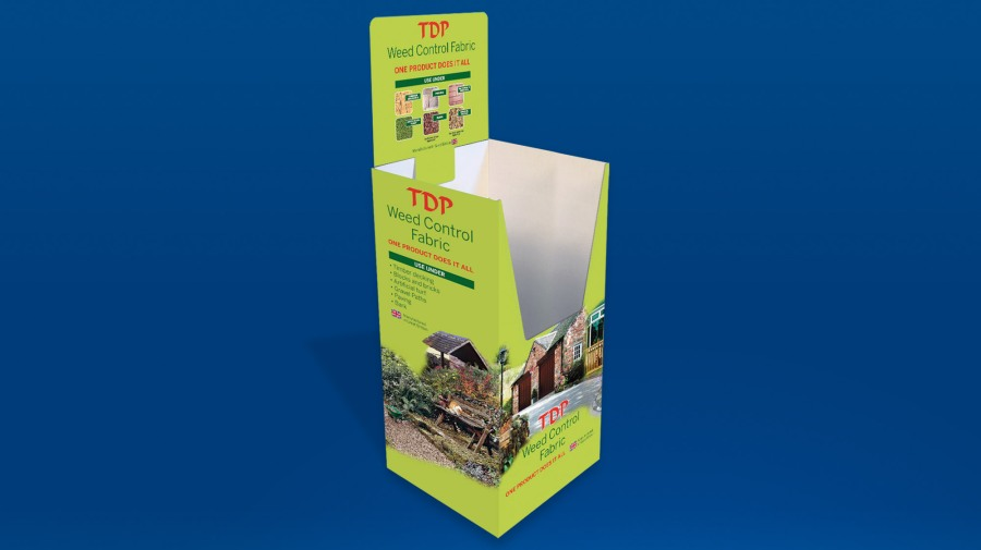 Retail dump bin for TDP weed control fabric rolls